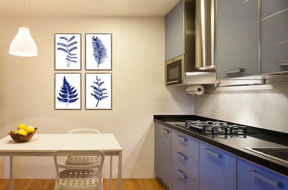 Ferns Print Floral Decor Set Of 4 Blue Ferns Kitchen Wall | Etsy