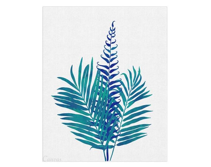 Leaves Poster, Wall Art, Palm Leaf Print, Art Print, Home Décor, Large Canvas, Wall Print, Tropical Leaf Print, Blue Decoration