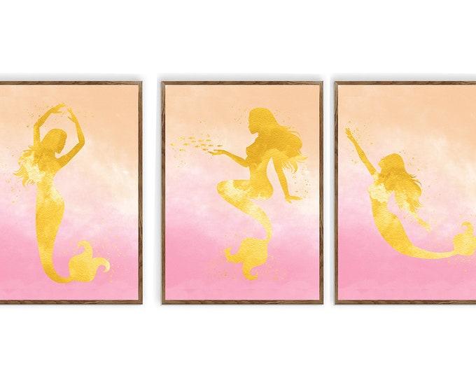 Mermaid Wall Art, Mermaid Set of 3 Print, Mermaid Nursery Art, Mermaid Nursery Print, Mermaid Girls Room, Girl Gift Ideas, Home Decoration