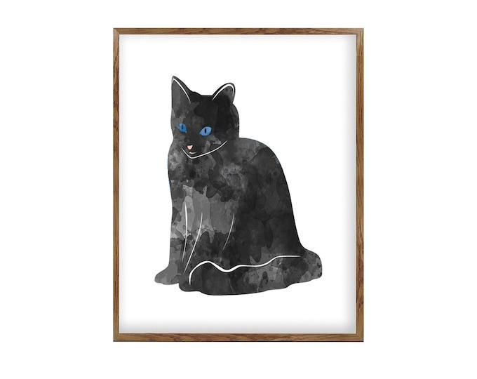 Cat Print, Black Cat, Canvas Wall Art, Watercolor Painting, Art Print, Bedroom Wall Décor, Cat Lover Gift, Minimalist Art