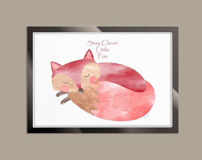 Fox Nursery Decor, Stay Clever Little Fox, Woodland Nursery Print, Nursery Wall Decor, Playroom Quote Sign, Fox Art Print, Fox Illustration