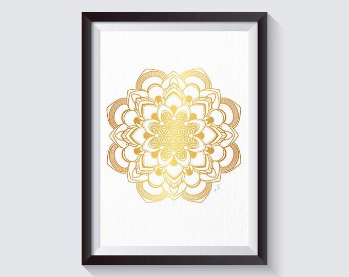 Mandala Wall Décor , Mandala Print, Golden Mandala, Minimal Art, Golden Wall Art, Hindu Décor, Yoga Studio Wall Print, Bedroom Décor