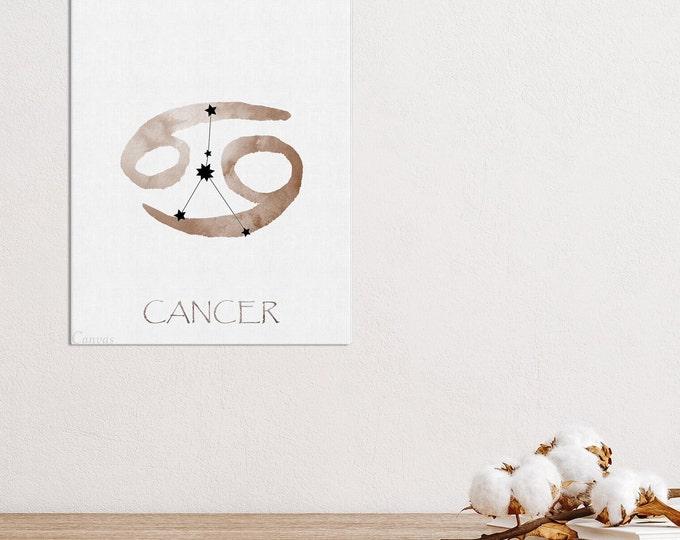 Cancer Constellation Print, Personalized Gift, Watercolor Wall Art, Zodiac Sign Print, Art Print, Birth Month, Astrology Print, Zodiac Art