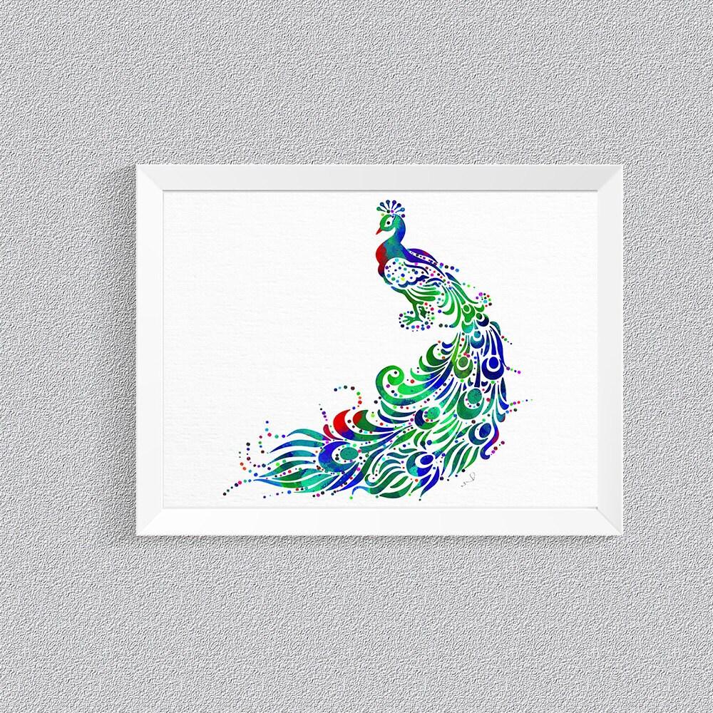 Peacock Watercolor Print Watercolor Art Peacock Painting Animal