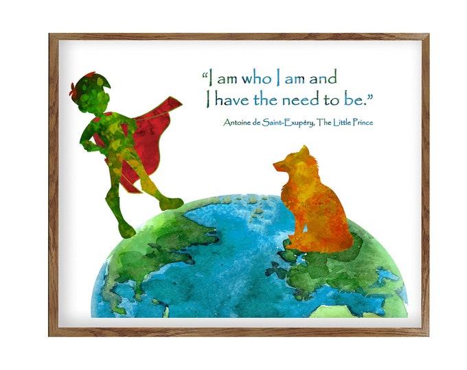 Little Prince, Inspirational Quote Prints, I am Who I am, Nursery Prints, Wall Art, Le Petit Prince, House Décor Print, Canvas Print