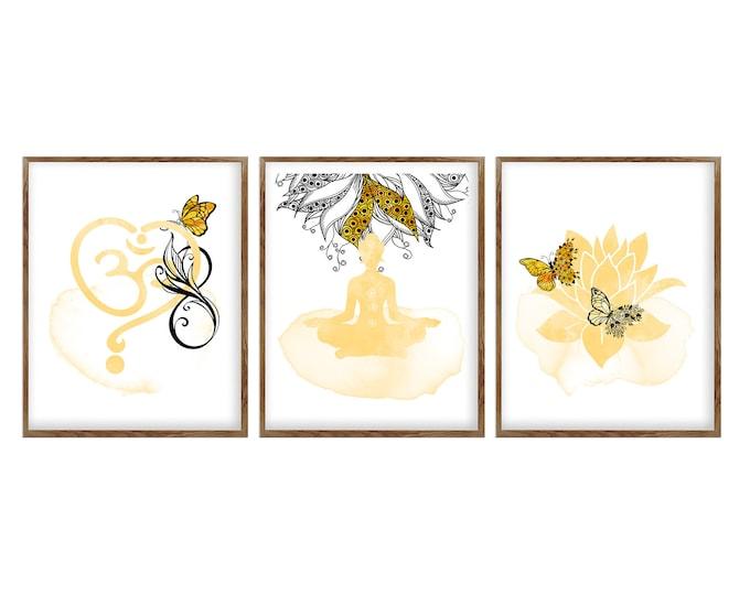 Set Of 3 Prints, Yoga Wall Art, Spiritual Art, Meditation Gift, Studio Decoration, Yoga Prints, Om Décor, Lotus Flower