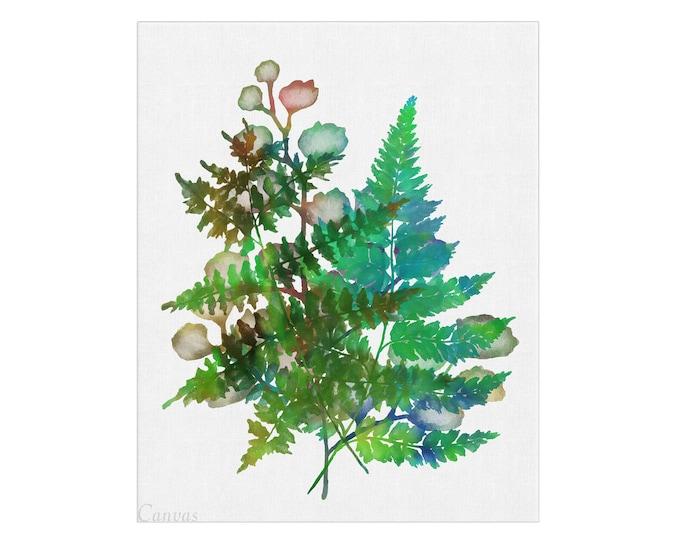 Fern Art, Plant Poster, Botanical Wall Art, Floral Art Print, Canvas Wall Art, Floral Print, Plant Décor, Fern Print, Bathroom Decoration