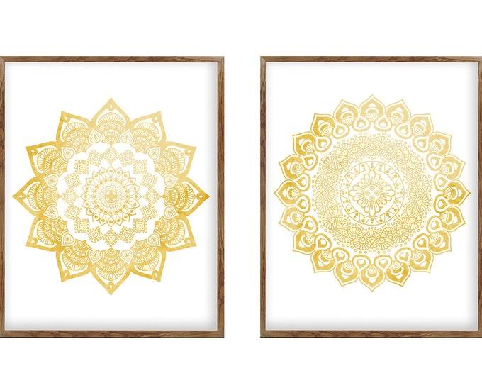 Original Golden Mandala, Wall Art Set of 2 Prints, Canvas Wall Art, Wall Décor, Neutral Color, Living Room, Bedroom Decoration