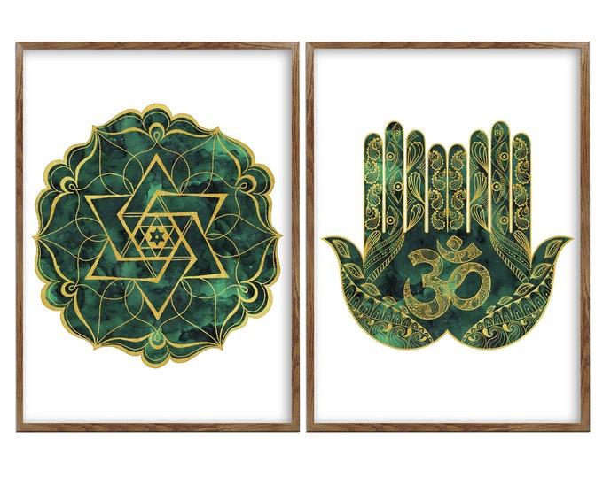 Set Of 2 Art Prints, Mandala, Wall Art, Om Wall Art, Hamsa Wall Art, Sacred Geometry, Yoga Studio Décor