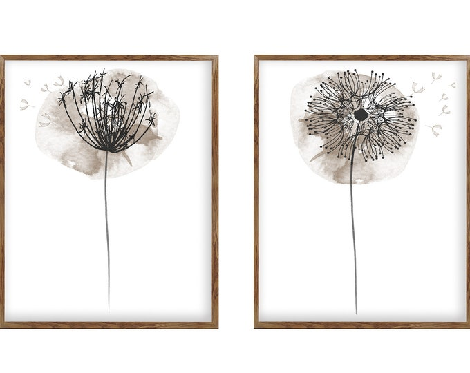 Dandelion Seeds, Taupe Wall Décor, Dandelion Minimalist Painting, Abstract Flower Watercolor Art Print, Set 2 Art Prints