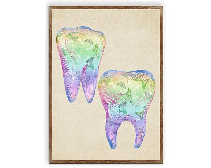 Tooth Art Print, Dental Hygienist, Gift for Dentist, Dentistry Art, Dental Clinic Décor, Tooth Illustration