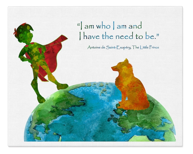 I am Who I am, Inspirational Quote Print, Nursery Prints, Wall Art Canvas, Literature Art, Le Petit Prince, House Décor, Poster Print