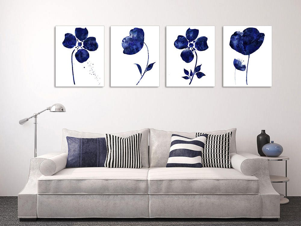 4 piece wall art navy blue floral print floral wall art set