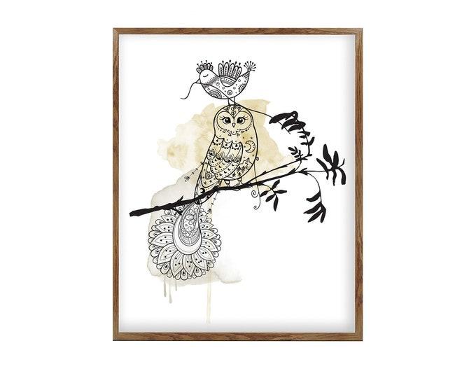 Original Owl Painting, Large Wall Art Print, Owl Décor, Bohemian Home Décor, Large Owl art, Canvas Wall Art, Owl Art, Owl Gifts