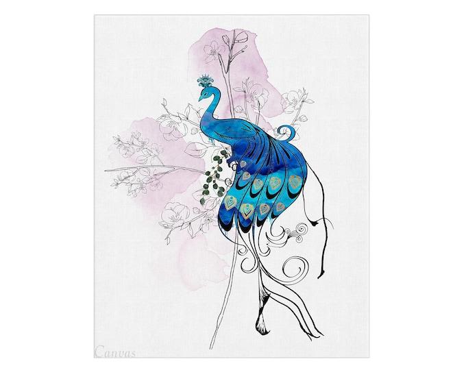 Peacock Print Illustration, Wall Art, Handmade Watercolor, Bird Painting, Peacock Art Print, Nature Art, Gift For Her