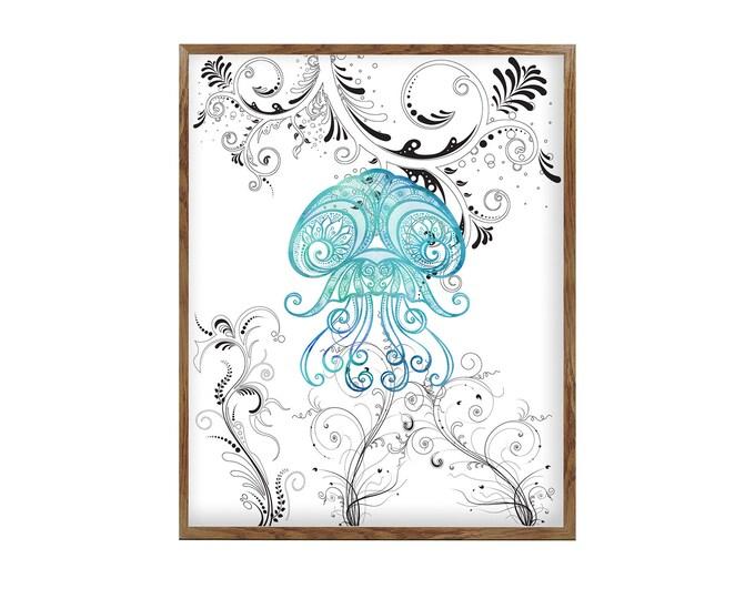 Jellyfish Art, Watercolor Print, Sea Life Art, Wall art, Nautical Art, Beach Home Décor, Coastal Living, Art Print, Illustration Art