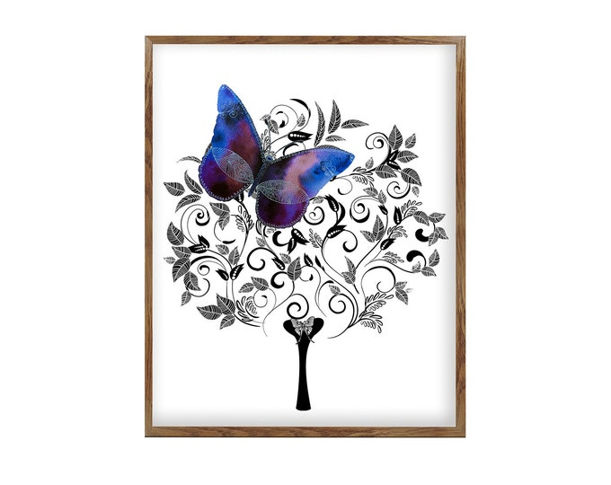 Doodle Illustration, Watercolor Flower, Floral Butterfly, Nature Art, Purple Decoration, Teen Girl Room, Gift For Her, Bedroom Wall Art