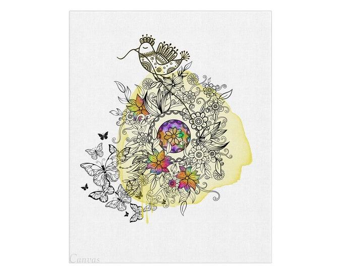 Mandala Wall Art, Floral Art Print, Mandala Painting, Bohemian Wall Décor, Floral Art, Mandala Art, Modern Floral Painting