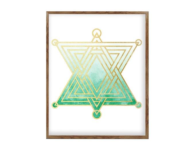 Spiritual Art Home Décor, Sacred Geometry Mandala, Green Emerald Wall Décor, Studio Décor, Wall Art