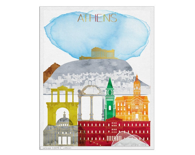 Athens Poster, Athens Greece, Athens Print, Wall Art, Athens Skyline, Athens Art, Home Décor, Travel Poster, City Prints, Gift