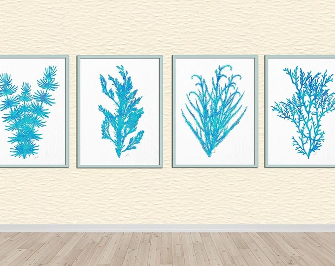 Seaweed Set 4 Print, Watercolor Sea Coral, Turquoise Wall Art, Aqua Art Print, Beach Theme, Nautical Nursery, Office Wall Art, Coral Poster