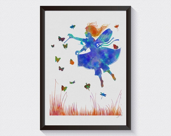 Fairy Poster, Fairy Art, Fairy Watercolor, Wall Art, Tooth Fairy, Watercolor Print, Girls Room Décor, Gift For Daughter