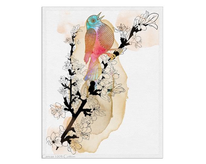 Bird Canvas Art, Large Canvas Print, Original Watercolor Painting, Colorful Bird Wall Art, Large Painting for Living Room, Large Wall Art