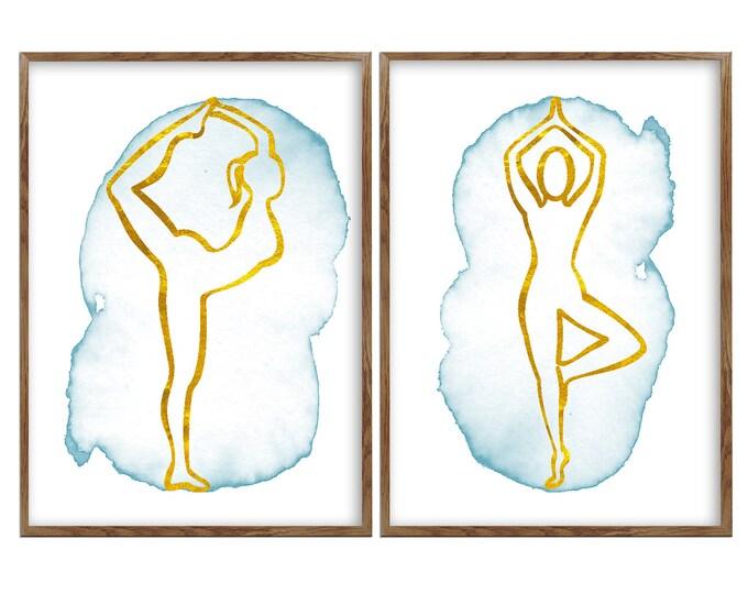 Wall Art Canvas, 2 Pieces Set, Wall Art, Meditation Room Wall Décor, Yoga Pose Print, Yoga Poster, Yoga Studio Art