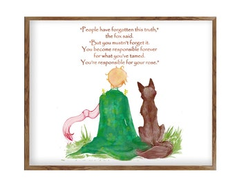 The little Prince Fox Quote Inspirational Quote Le Petit Prince Fox The little Prince Art Prince Room Décor Baby Room Baby Shower Gift