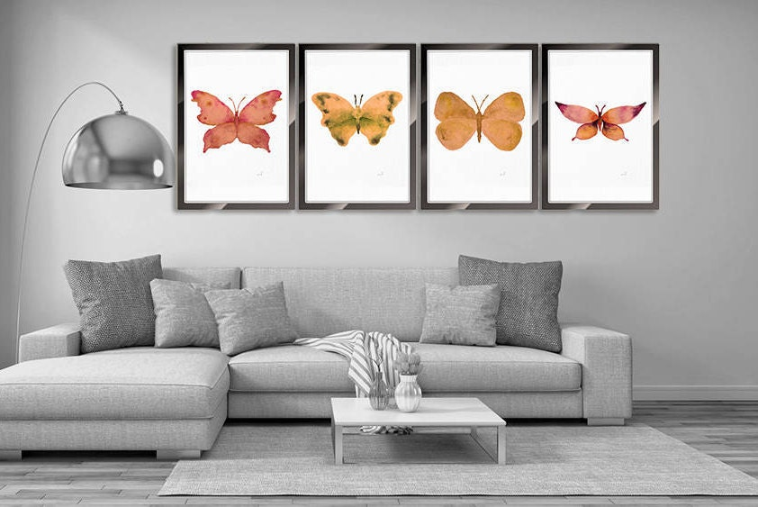 Watercolor Butterfly Set Of 4 Prints Insect Print Insect Art Nature Wall  Art, Butterfly Illustration Home Wall Decor Butterfly Bedroom Decor