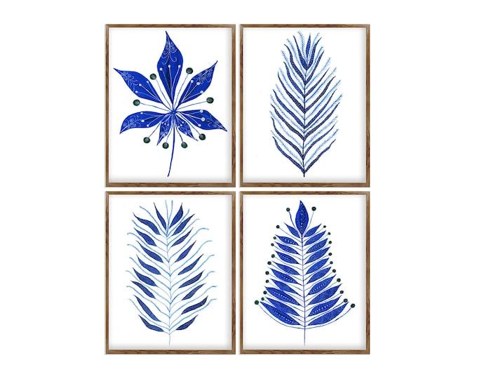Leaves Print, Set of 4, Fern Wall Art, Botanical Print, Fern Art, Fern Illustration, Wall Art, Bathroom Décor