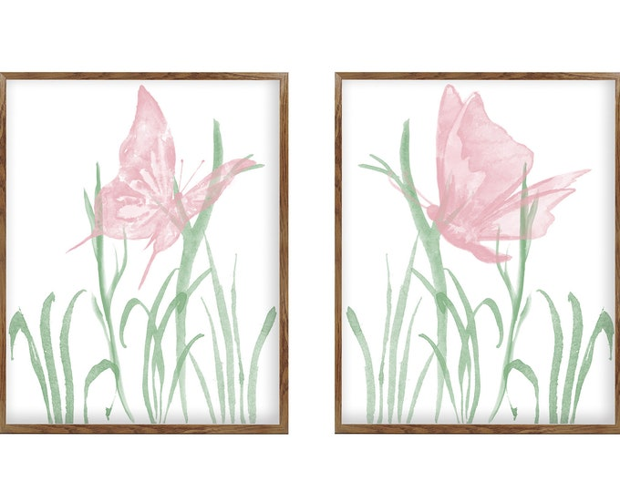 Watercolor Butterfly, Wall Art, Set of 2 Prints, Nursery Décor, Girls Bedroom, Home Décor, Pink Butterfly, Butterfly Ornament
