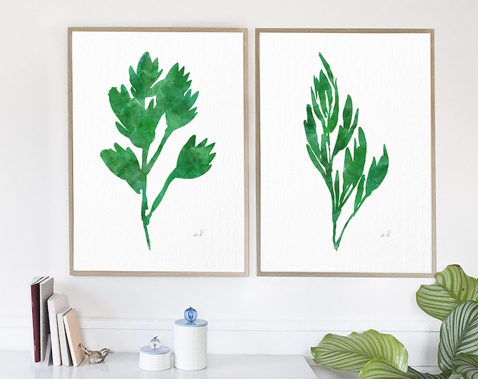 Garden Herbs Prints, Watercolor art prints, Set of 2 Watercolor Abstract, Green Prints, Kitchen Wall Art, Home Decor, Unframed Art Prints