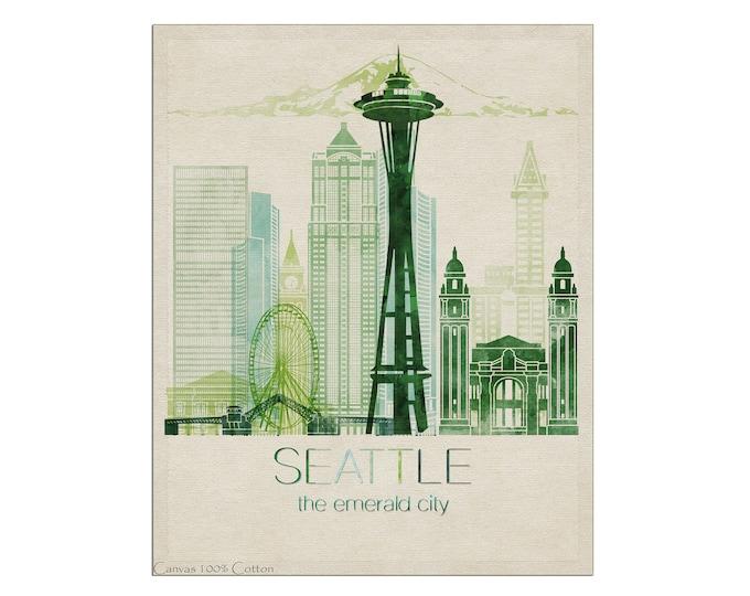 Seattle Skyline, Seattle Art Print, Poster, Wall Art, City Prints, Travel Gift