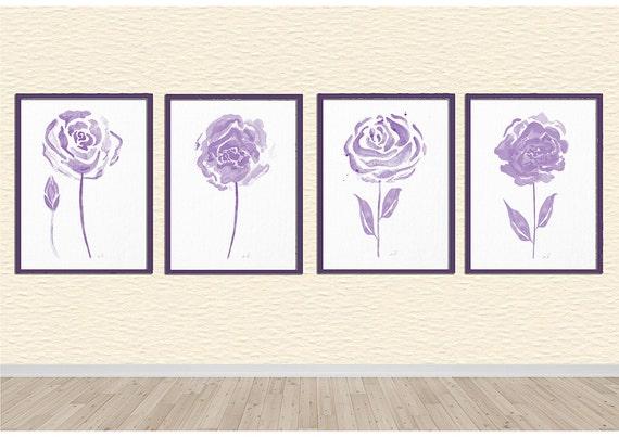 Aquarelle de fleurs, Shabby Chic, décoration d\'intérieur, fleur de ...