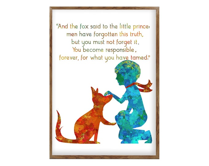 Little Prince Fox Quote, Inspirational Quote, Nursery Décor, Wall Art Canvas, Boys Room Décor, Kids Wall Art, Home Gallery, Bedroom Wall Art