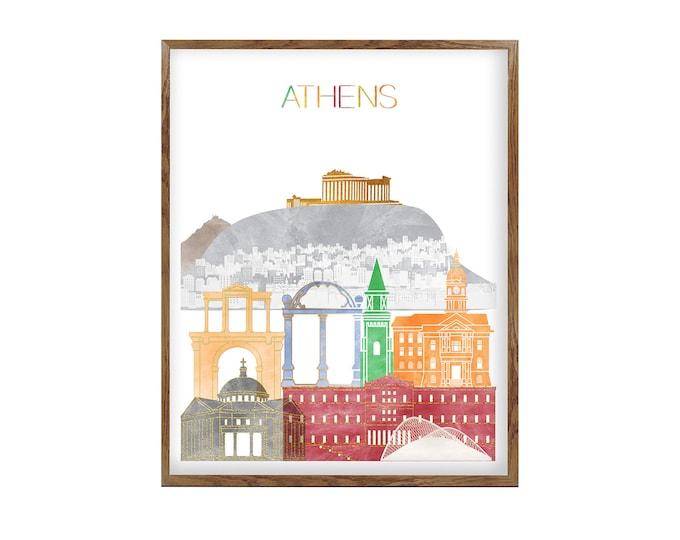 Athens Greece, Athens Poster, Athens Print, Wall Art, Athens Skyline, Athens Art, Home Décor, Travel Poster, City Prints, Gift