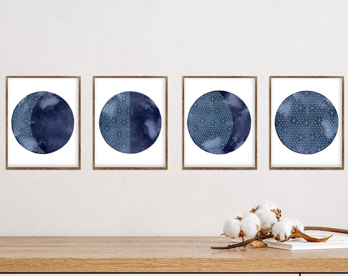 Lunar Phases Wall Art, Set of 4, Blue Moon Prints, High-Quality Moon Phases Poster, La Lune, Sacred Moon, Flower of Life, Above Bed