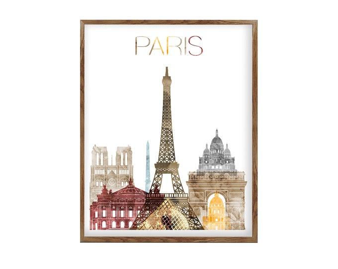 Paris Poster, Paris Wall Art, Print, Paris Skyline, European City Art, City Art, Home Décor