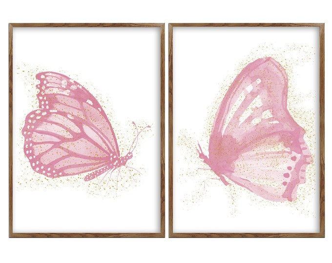 Blush Butterfly, Blush and Gold, Set Of 2, Butterfly Baby Print, Butterfly Art, Blush Butterfly, Butterfly Wall Décor