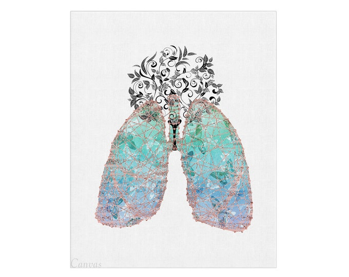 Medical Wall Art, Lungs Print, Wall Art Print, Anatomical Lungs, Human Anatomy Art, Anatomy Poster, Medical Print
