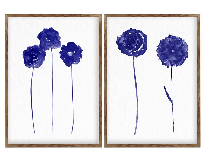 Abstract Flower, Set 2 Paintings, Navy Blue Living Room, Hydrangea Bouquet, Navy Wall Decor, Home Style, Wall Hanging, Gallery Wall set of 2