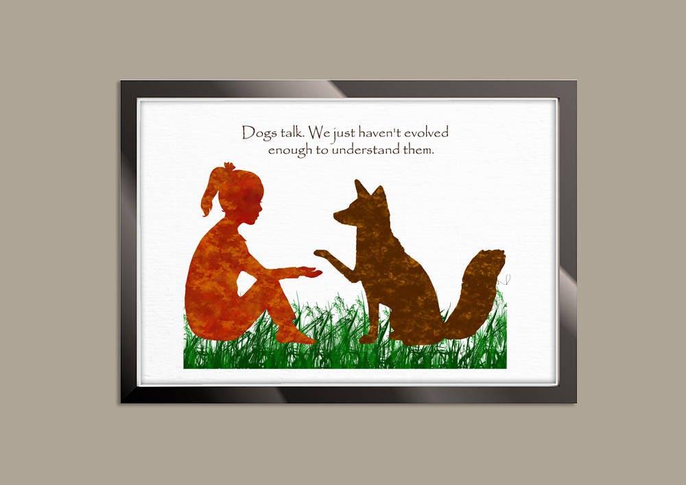 Dog Quote Print, Dog Art Print, Dog Wall Art, Dog Lover Gift, Girl ...