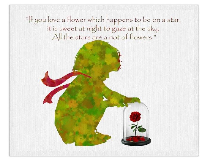 The Little Prince, Inspirational Quote Prints, Nursery Prints, Wall Art, Watercolor Print, Le Petit Prince, House Décor Print