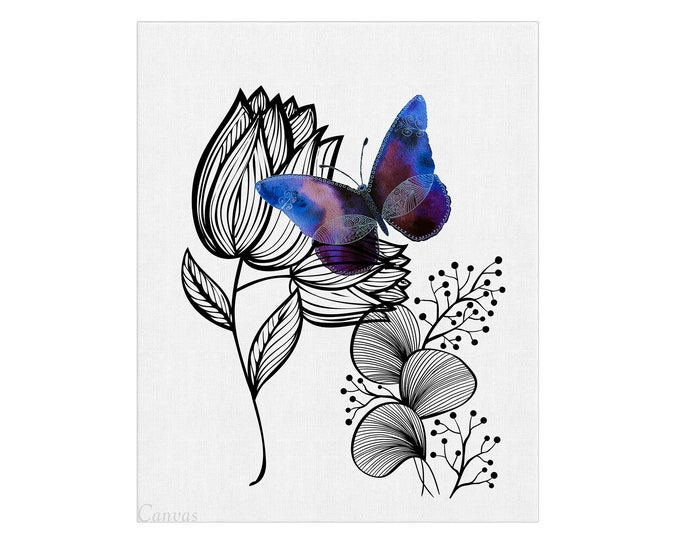 Floral Butterfly, Doodle Illustration, Watercolor Flower, Nature Art, Purple Decoration, Teen Girl Room, Gift For Her, Bedroom Wall Art