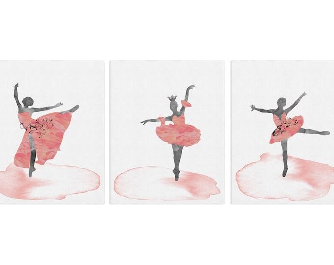 Set of 3, Ballerina Wall Art, Ballet Dancer Gift, Ballerina Nursery Art, Watercolor Print, Ballerina Print, Girls Room, Studio Décor