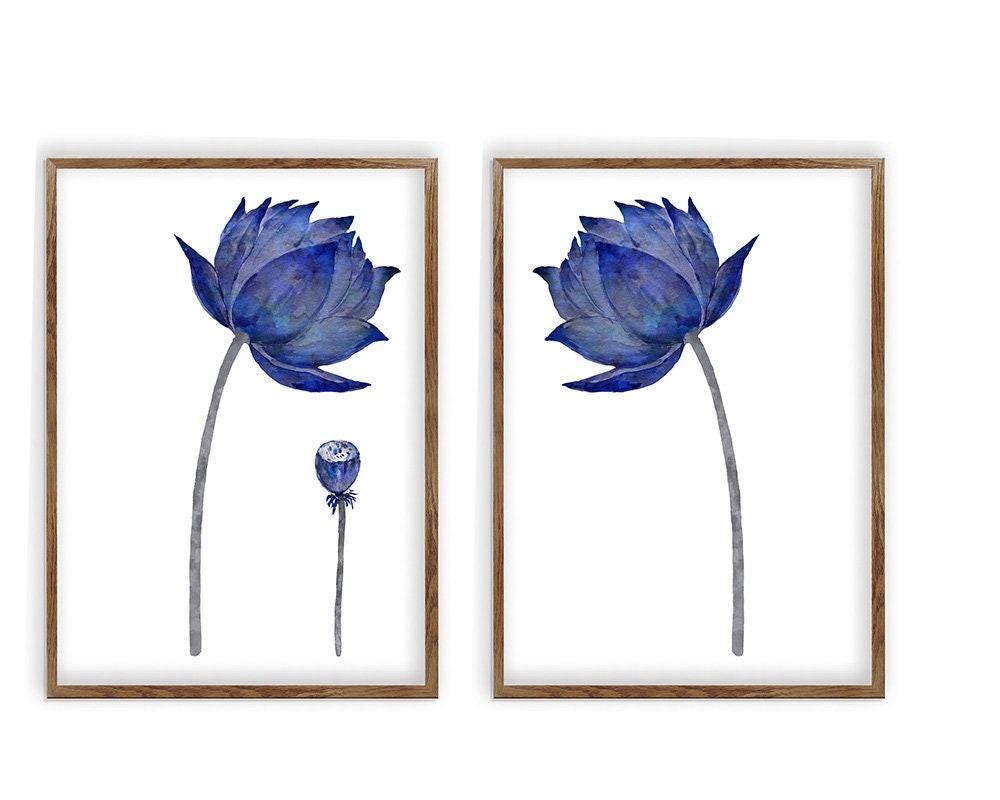 Sale Lotus Flower Art Set Of 2 Watercolor Painting Floral Wall Art