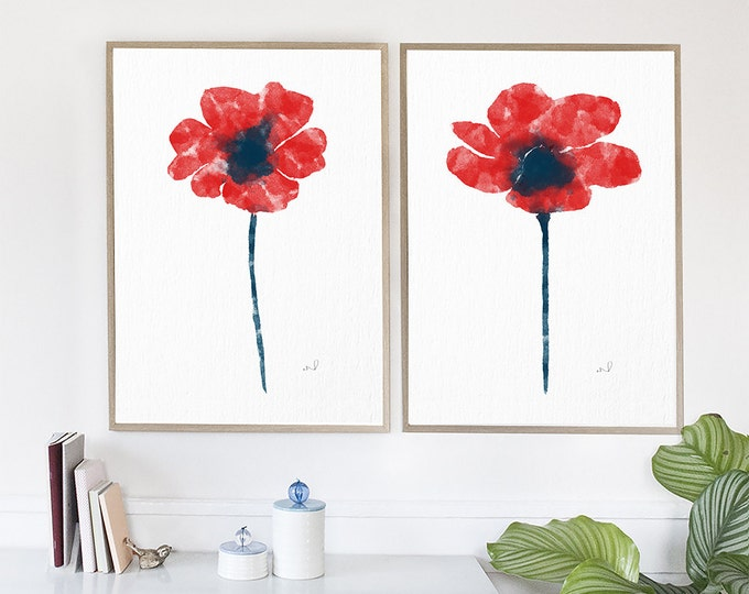 Watercolor Poppies set of 2, Red Living Room Decor, Watercolor Home Decor, Gift For Her Modern Art Print Floral Art Print Poppies Wall Decor