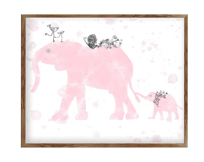 Nursery Wall Art, Girl Elephant, Pink and Grey, Nursery Décor, Girl Pink Room, Nursery print, Baby Girl Room Décor, Girl Nursery, Animals
