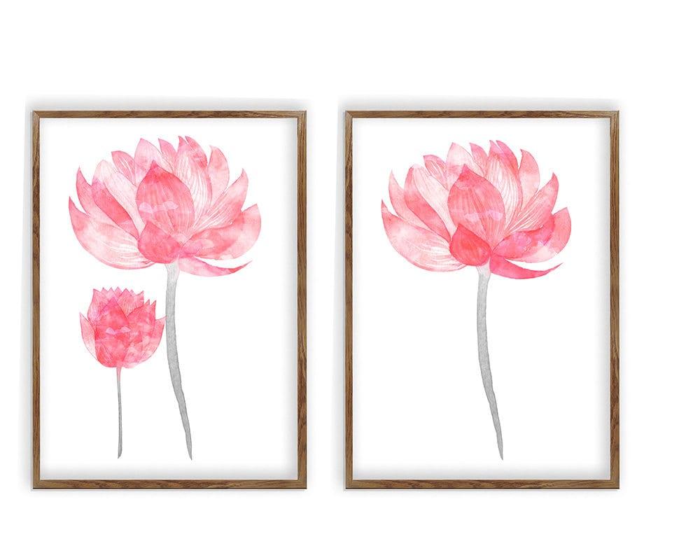 Sale Watercolor Lotus Flower Set Of 2 Floral Prints Etsy